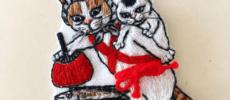 「にゃん吉ドーナツ」の猫ブローチ1