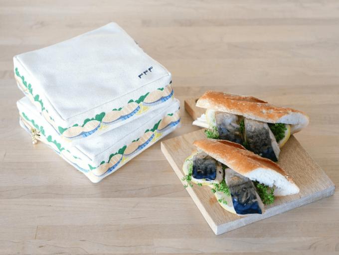 カラフルでポップな「pu・pu・pu(ぷぷぷ)」の四角形のサンドイッチポーチとサンドイッチ