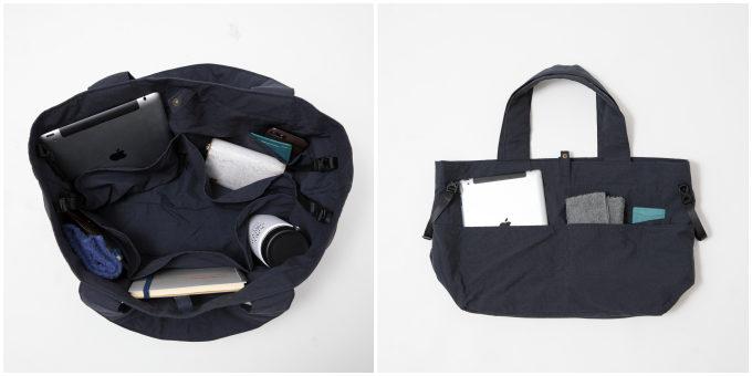 オリジナルヨガウエアブランド「yoggy sanctuary(ヨギー・サンクチュアリ)」のシンプルで大容量のトートバッグのポケット