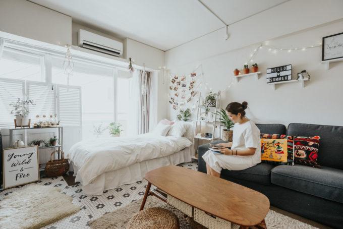 クローゼットのない部屋の収納方法実例1