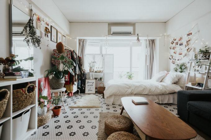 クローゼットのない部屋の収納方法実例2