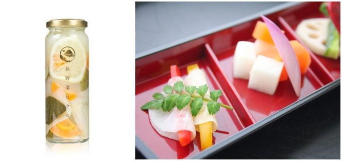 山口県の萩の地元野菜を使った瓶詰めの「萩野菜ピクルス 和風味」