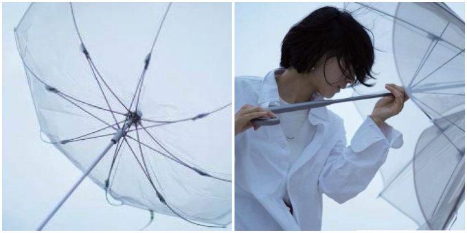 「+TIC LITE(プラスチック ライト)」の「さびない、つよい。長く使える傘」が強い風に吹かれているところ1