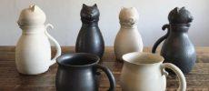 「暮縞」の猫型ポット&マグカップ