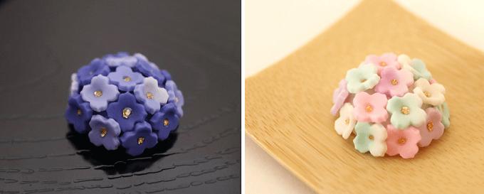 (左)紫陽花の星(右)水面の紫陽花 各4,000円(税込)
