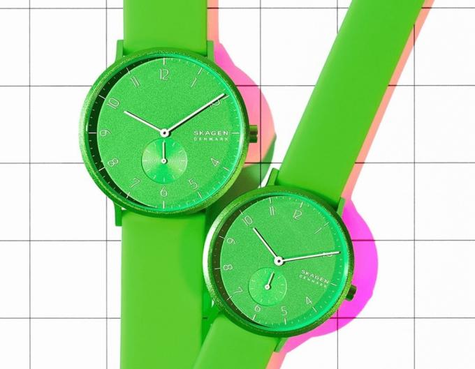 夏におすすめ、「SKAGEN(スカーゲン)」のネオングリーンーの腕時計