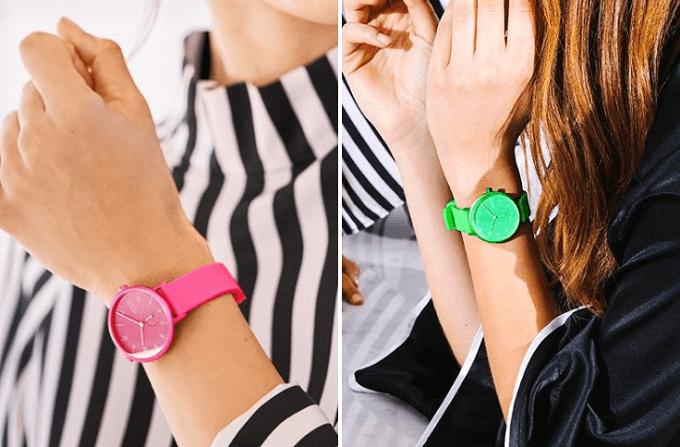 夏におすすめ、「SKAGEN(スカーゲン)」のネオンカラーの腕時計、着画