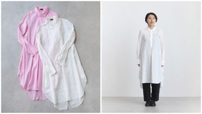 おすすめのシャツ「COTTON ORGANDY SWALLOWTAIL SHIRTS DRESS」