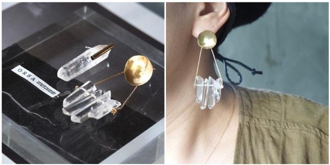 水晶を使った「accessories ORSA」のアシンメトリーピアス、「Barbegazi(バーベガジ)」