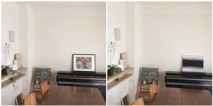 絵画レンタル「Casie」の異なる絵を飾った部屋の比較