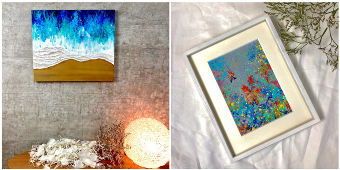 絵画レンタル「Casie」のブルーを基調とした絵2枚