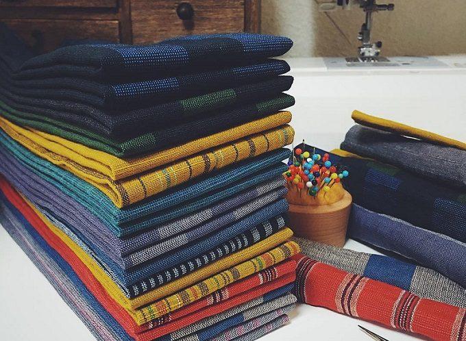 「duca -textile-」の布小物の素材である会津木綿
