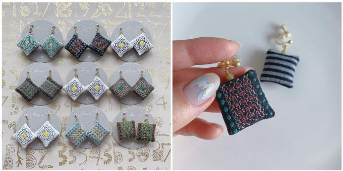 「duca -textile-」の刺繍入りイヤーアクセサリー
