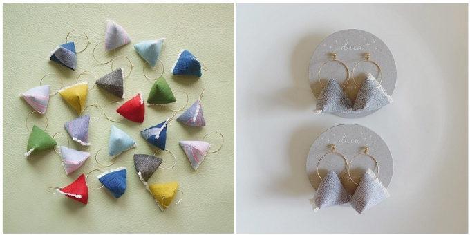 「duca -textile-」のフリンジ付きイヤーアクセサリー2
