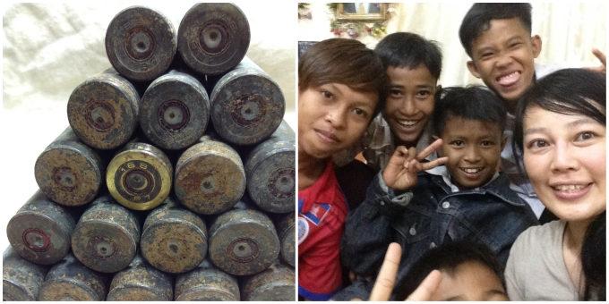 カンボジアの薬莢の画像と、子どもたちとタナカチヅルさんの画像
