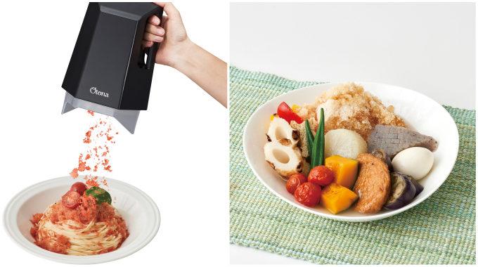 「電動ふわふわとろ雪かき氷器」を手に持って使った様子と、調理例の冷製おでん