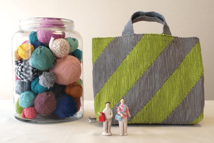 いわもとあきこさんが作る裂き織りバッグ2