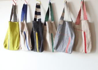 バリエーション豊かなデザインや色使いに注目。いわもとあきこさんが作る裂き織りバッグ