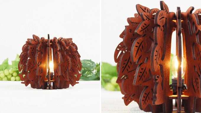 「minow plus」の森の動物モチーフの木製フロアランプ