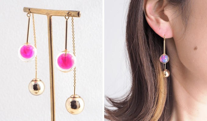 「京都オパール」を使った「popy-k」のピンクのイヤーアクセサリー