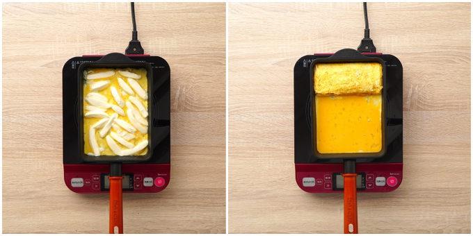 おつまみにもおすすめの「チーズ入り洋風だし巻き玉子」レシピ手順
