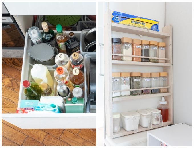 調味料の入った引き出しと透明の瓶に入ったスパイスが並ぶ棚