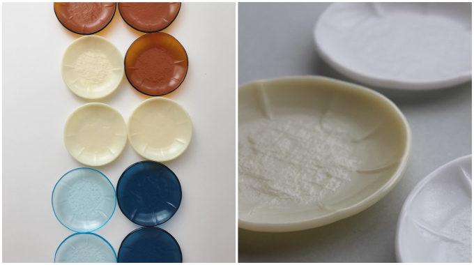 ガラス作家・池谷三奈美さんの、リネンのテクスチャをうつした小皿