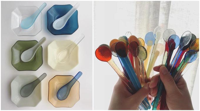 ガラス作家・池谷三奈美さんの、色とりどりのれんげやマドラー