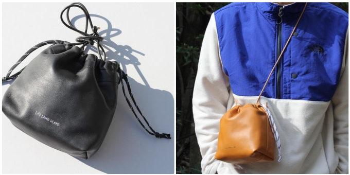 「LIFE LAND SCAPE」の巾着型の革バッグ