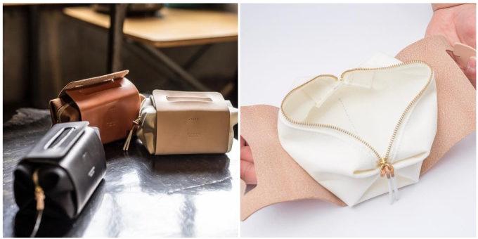 「LIFE LAND SCAPE」のケーキボックス型の革のミニバッグ