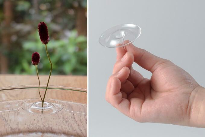 「oodesign(オーデザイン)」の「Floating Vase/RIPPLE」に花を活けた様子と仕組み