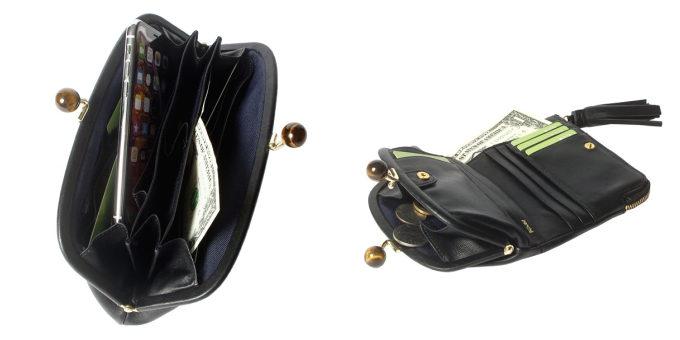 天然石が付いた「perche(ペルケ)」のがま口のレザー財布を開いた様子
