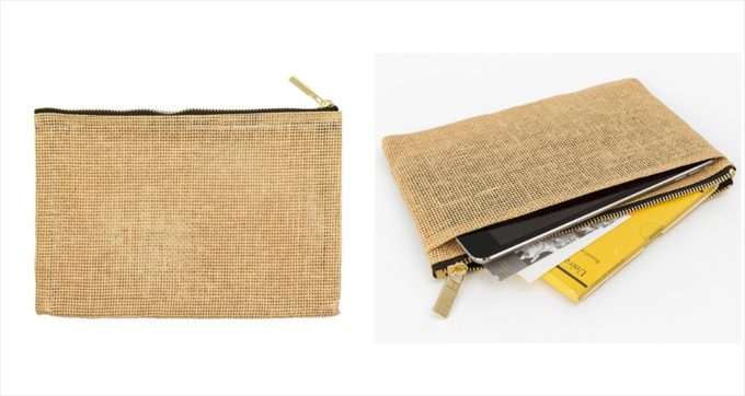 パルプ100%を原料とする紙製の紐で作られた「ペーパーコード」のポーチ