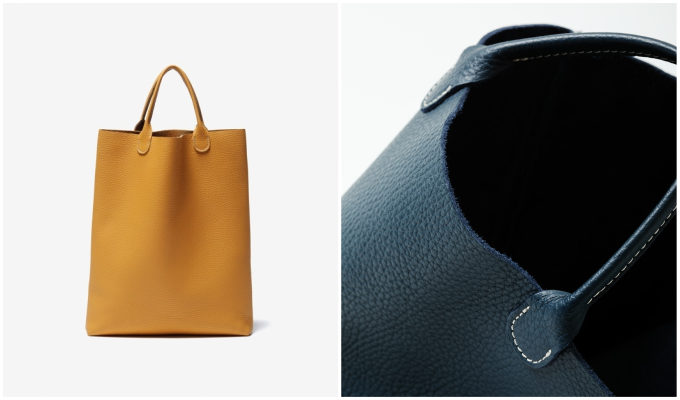 「TASINAMI」のシュリンクレザーのバッグ