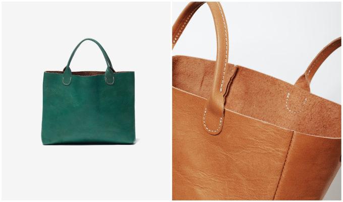「TASINAMI」のタンニン鞣しレザーのバッグ