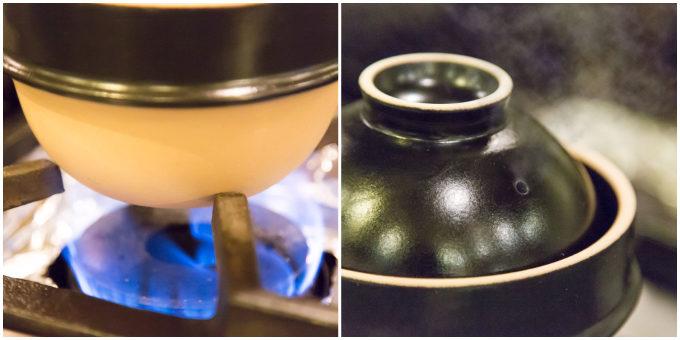 益子焼の土鍋「kamacco」を火にかけた様子