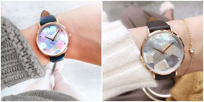 「ALETTE BLANC(アレットブラン)」の幾何学模様の文字盤が輝く腕時計 リリーコレクション 人気のアッシュピーチ、モーブブラウン