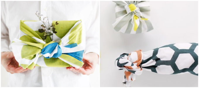 両面が異なる色に染められた「hirali」の手ぬぐいをお弁当包みやラッピングに使用した様子