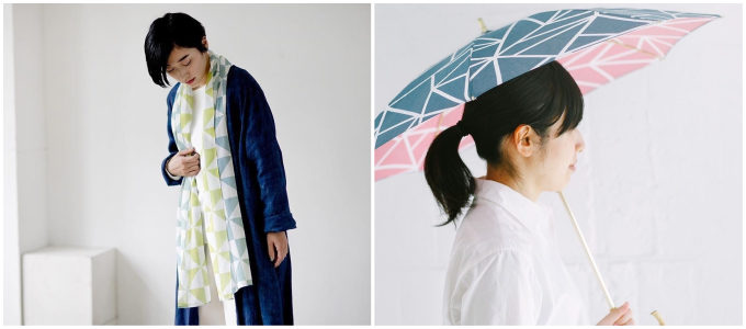 両面が異なる色に染められた「hirali」の生地を使用したストールや日傘