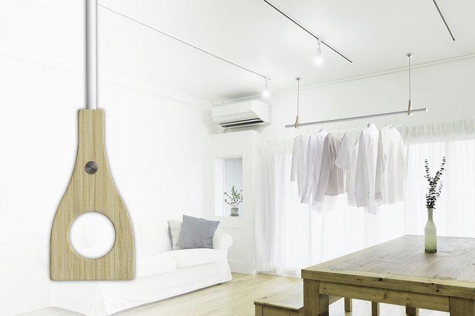 室内干しにおすすめ、インテリアを邪魔しない物干しシリーズ「hoss nagae bamboo」使用例