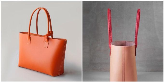 皮革製品の製作所「くも舎」の手作りのレザートートバッグ2