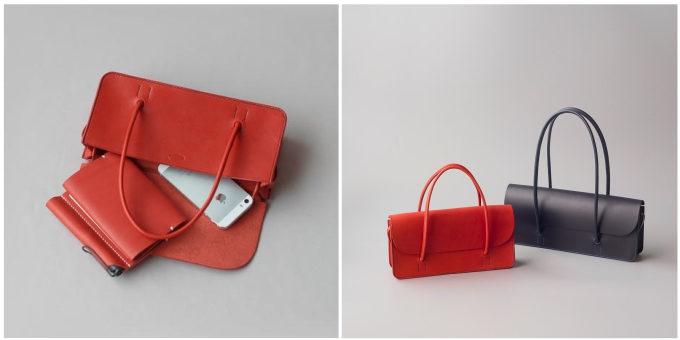 皮革製品の製作所「くも舎」の手作りのかぶせが付いたハンドバッグ