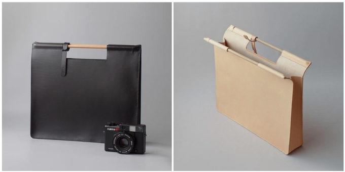 皮革製品の製作所「くも舎」の手作りのスクエアバッグ