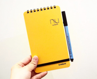 エコライフの第一歩。何度も書いて消せるノートタイプのホワイトボード「nu board」