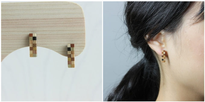 木の廃材を利用してアクセサリーを作る「白谷工房」の「寄木の小さなレクタングルピアス」