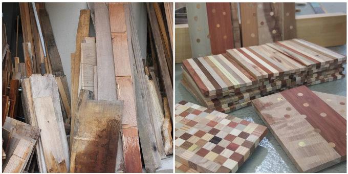 「白谷工房」に置かれた木の廃材と、それを利用した寄木