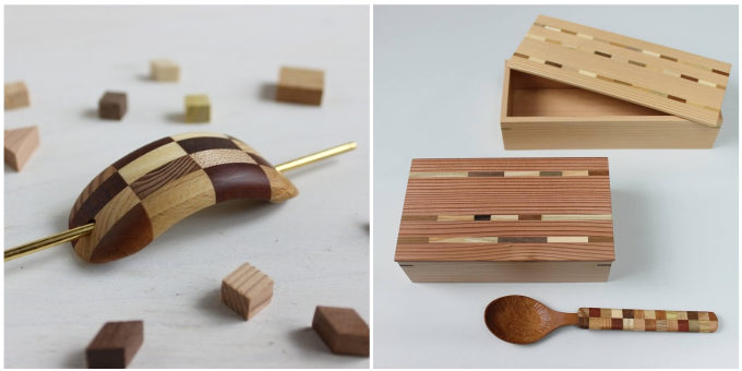 木の廃材を利用してアクセサリーを作る「白谷工房」のお弁当箱などの製品