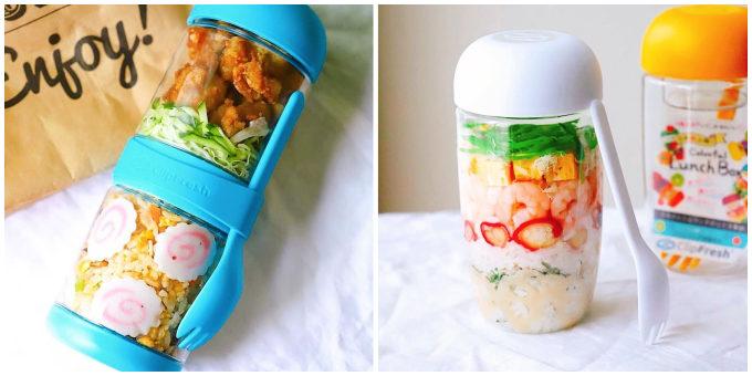 透明な容器でサラダがおしゃれに入れられる「INBOXサラダシェイカー」2段式も