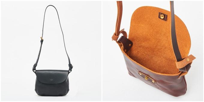 革製品ブランド「SLOW」のフラップ付きショルダーバッグ
