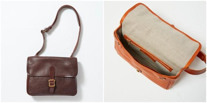 革製品ブランド「SLOW」のフラップ・ベルト付きショルダーバッグ